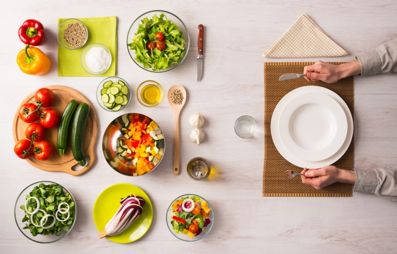 Table with Vegetarian Food Plate iStock 488561678
